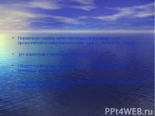 Первичную оценку качества воды проводили по её органолептическим показателям: цв