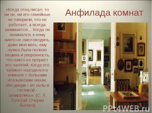 Анфилада комнат «Когда отец писал, то ни он, ни его семейные не говорили, что он