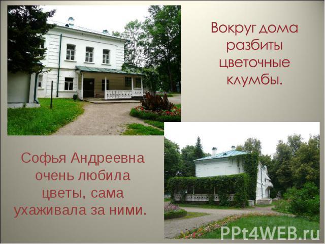 Вокруг дома разбиты цветочные клумбы. Софья Андреевна очень любила цветы, сама ухаживала за ними.
