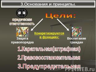 3.Основания и принципы. Цели:Конкретизируютсяв функциях:1.Карательная(штрафная)2