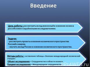 Введение Цель работы: рассмотреть вклад внесенный в освоение космоса российскими