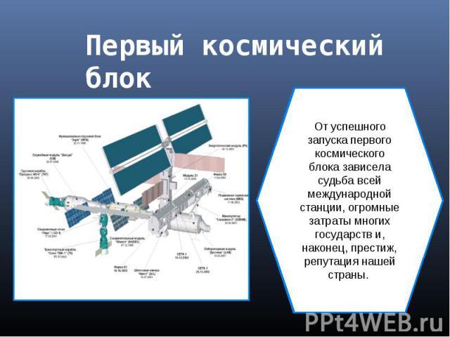 Первый космический блок От успешного запуска первого космического блока зависела судьба всей международной станции, огромные затраты многих государств и, наконец, престиж, репутация нашей страны.