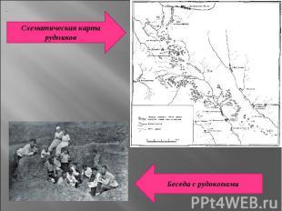Схематическая карта рудниковБеседа с рудокопами