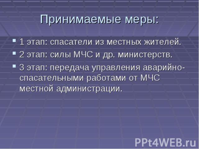 Принимаемые меры: 1 этап: спасатели из местных жителей.2 этап: силы МЧС и др. министерств.3 этап: передача управления аварийно-спасательными работами от МЧС местной администрации.