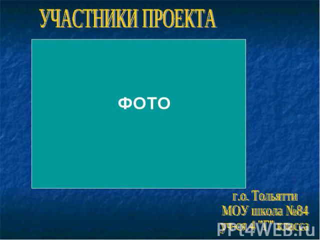 УЧАСТНИКИ ПРОЕКТАг.о. ТольяттиМОУ школа №84уч-ся 4