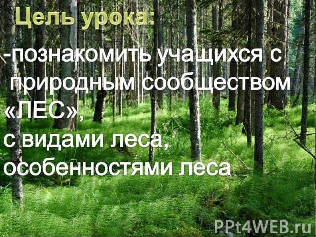 Цель урока:-познакомить учащихся с природным сообществом «ЛЕС»,с видами леса,особенностями леса
