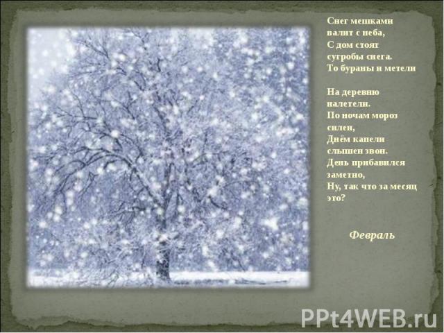Снег мешками валит с неба,С дом стоят сугробы снега.То бураны и метели На деревню налетели.По ночам мороз силен,Днём капели слышен звон.День прибавился заметно,Ну, так что за месяц это? Февраль