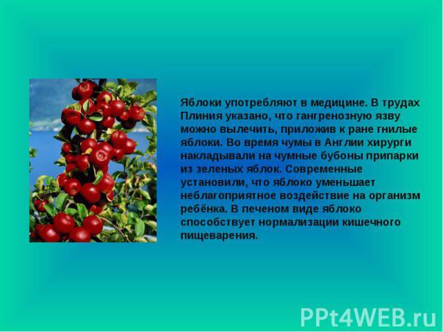 Яблоки употребляют в медицине. В трудах Плиния указано, что гангренозную язву можно вылечить, приложив к ране гнилые яблоки. Во время чумы в Англии хирурги накладывали на чумные бубоны припарки из зеленых яблок. Современные установили, что яблоко ум…