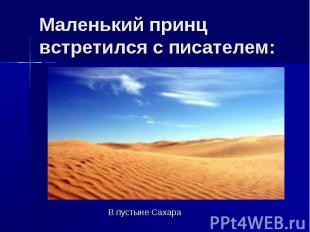 Маленький принц встретился с писателем: В пустыне Сахара