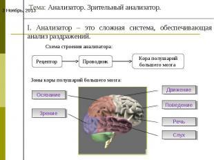 Тема: Анализатор. Зрительный анализатор.I. Анализатор – это сложная система, обе