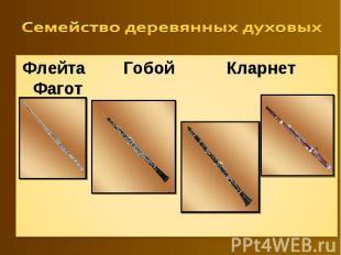 Семейство деревянных духовых Флейта Гобой Кларнет Фагот