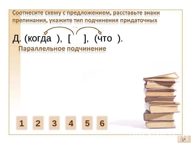 Соотнесите схему с предложением, расставьте знаки препинания, укажите тип подчинения придаточныхД. (когда ), [ ], (что ). Параллельное подчинение