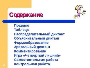 Содержание ПравилоТаблицаРаспределительный диктантОбъяснительный диктантФормообр