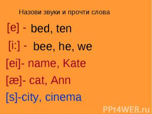 Назови звуки и прочти слова[e] -bed, ten [i:] -bee, he, we[ei]- name, Kate[æ]- c