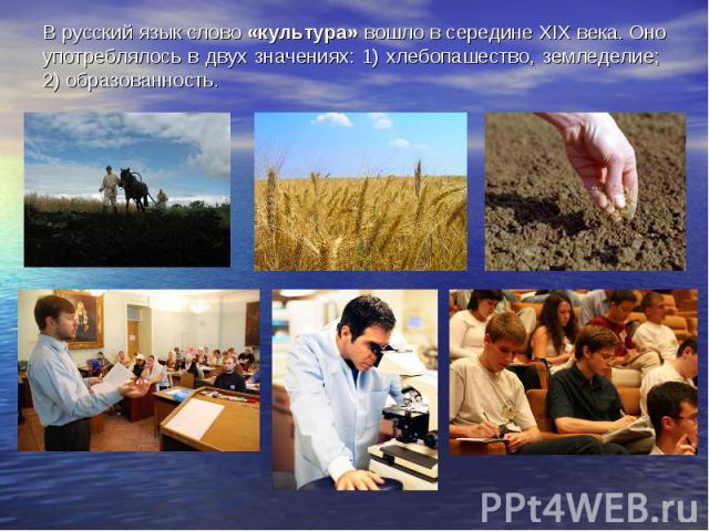 В русский язык слово «культура» вошло в середине XIX века. Оно употреблялось в двух значениях: 1) хлебопашество, земледелие; 2) образованность.