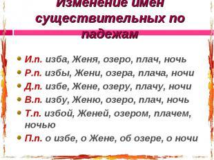 Изменение имен существительных по падежам И.п. изба, Женя, озеро, плач, ночьР.п.