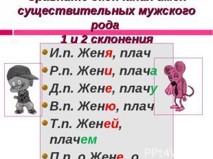 Сравните окончания имен существительных мужского рода 1 и 2 склонения И.п. Женя,
