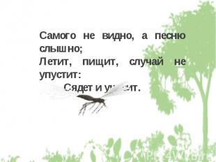 Самого не видно, а песню слышно; Летит, пищит, случай не упустит: Сядет и укусит