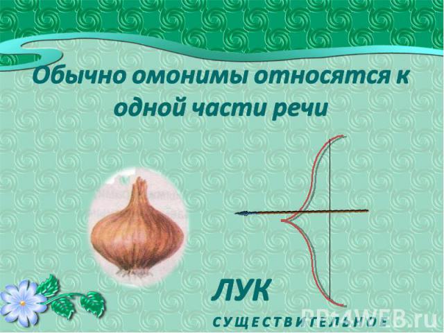 Обычно омонимы относятся к одной части речи ЛУКС У Щ Е С Т В И Т Е Л Ь Н О Е