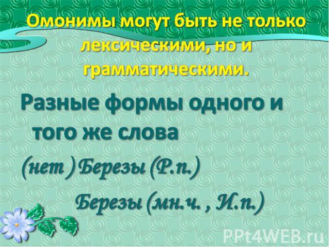 Омонимы могут быть не только лексическими, но и грамматическими. Разные формы одного и того же слова(нет ) Березы (Р.п.) Березы (мн.ч. , И.п.)