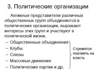 3. Политические организации Активные представители различных общественных групп