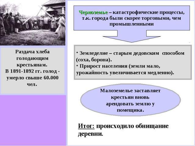 Раздача хлебаголодающимкрестьянам. В 1891-1892 гг. голод - умерло свыше 60.000 чел. Черноземье – катастрофические процессы, т.к. города были скорее торговыми, чем промышленными Земледелие – старым дедовским способом (соха, борона). Прирост населения…