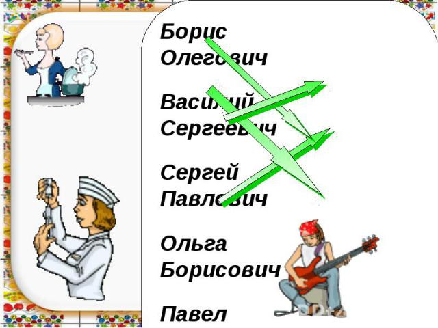 Борис ОлеговичВасилий СергеевичСергей ПавловичОльга БорисовичПавел Васильевич