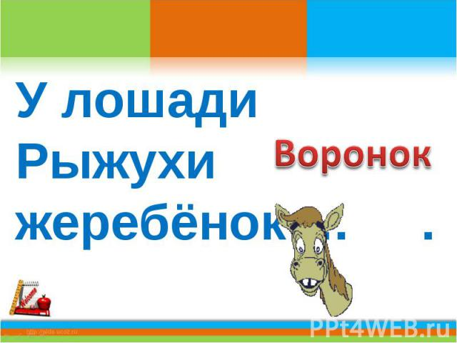 У лошади Рыжухи жеребёнок … .