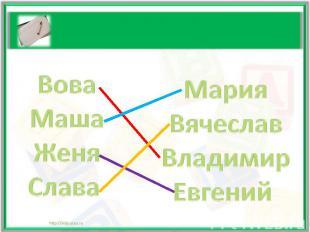 ВоваМашаЖеняСлава Мария Вячеслав Владимир Евгений