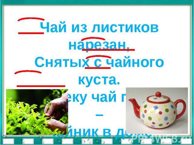 Чай из листиков нарезан,Снятых с чайного куста.Человеку чай полезен –Чайник в доме неспроста.