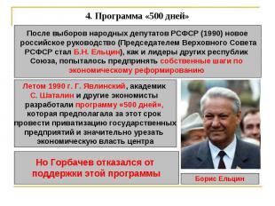 4. Программа «500 дней» После выборов народных депутатов РСФСР (1990) новое росс