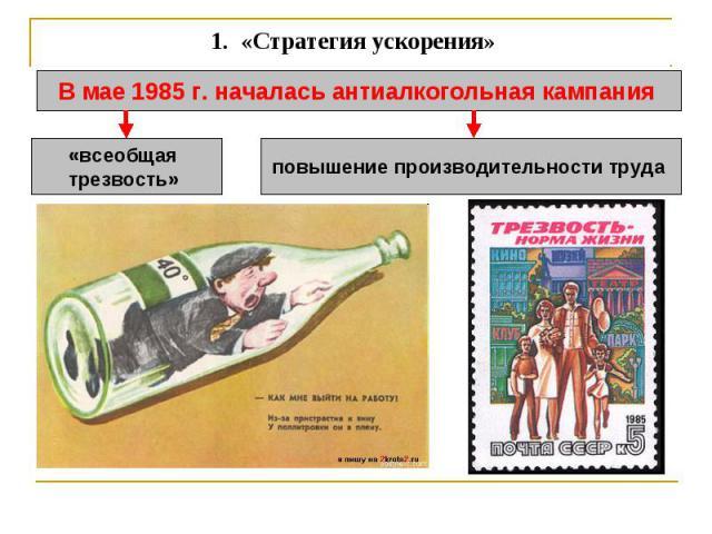 1. «Стратегия ускорения» В мае 1985 г. началась антиалкогольная кампания «всеобщая трезвость» повышение производительности труда