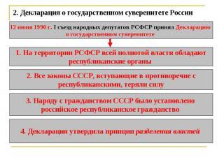 2.Декларация о государственном суверенитете России 12 июня 1990 г. I съезд наро