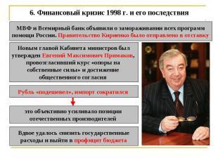 6. Финансовый кризис 1998 г. и его последствия МВФ и Всемирный банк объявили о з
