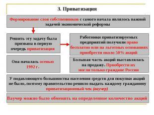 3.Приватизация Формирование слоя собственников с самого начала являлось важной