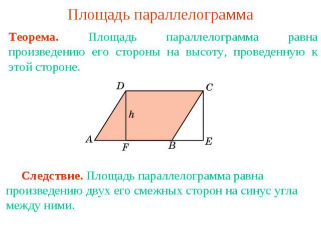 Площадь параллелограмма Теорема. Площадь параллелограмма равна произведению его стороны на высоту, проведенную к этой стороне. Следствие. Площадь параллелограмма равна произведению двух его смежных сторон на синус угла между ними.