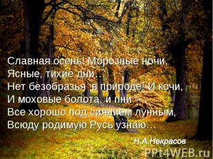 Славная осень! Морозные ночи,Ясные, тихие дни…Нет безобразья в природе! И кочи,И