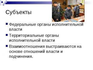 Субъекты Федеральные органы исполнительной властиТерриториальные органы исполнит