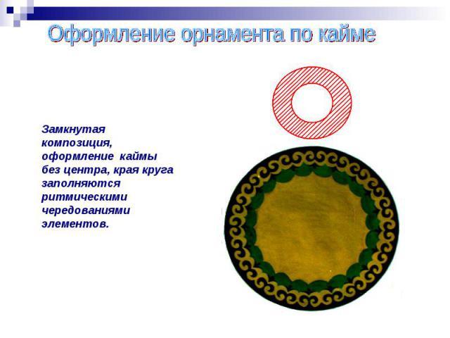 Оформление орнамента по каймеЗамкнутая композиция, оформление каймы без центра, края круга заполняются ритмическими чередованиями элементов.