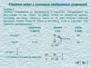 Решение задач с помощью квадратных уравнений Задача 1:Автобус отправился от авто