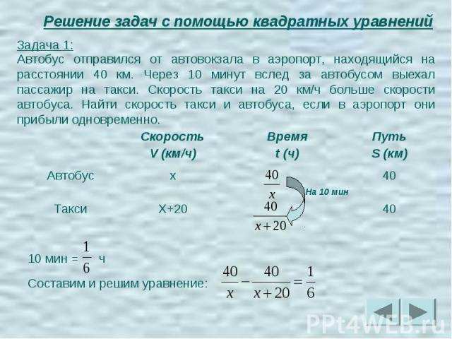 Решение задач с помощью квадратных уравнений Задача 1:Автобус отправился от автовокзала в аэропорт, находящийся на расстоянии 40 км. Через 10 минут вслед за автобусом выехал пассажир на такси. Скорость такси на 20 км/ч больше скорости автобуса. Найт…