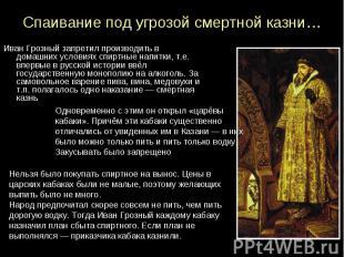 Спаивание под угрозой смертной казни… Иван Грозный запретил производить в домашн