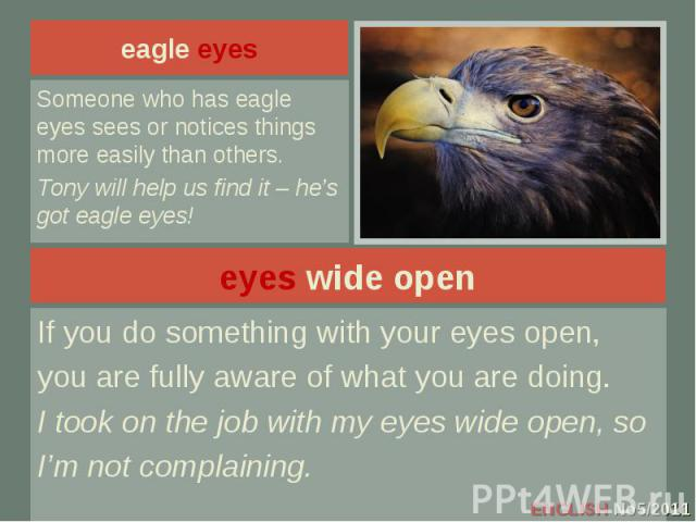 eagle eyes Someone who has eagle eyes sees or notices things more easily than others.Tony will help us find it – he's got eagle eyes!eyes wide openIf you do something with your eyes open,you are fully aware of what you are doing.I took on the job wi…