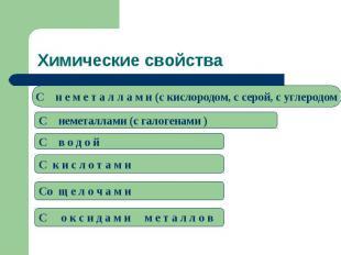 Химические свойстваC н е м е т а л л а м и (c кислородом, с серой, с углеродомC