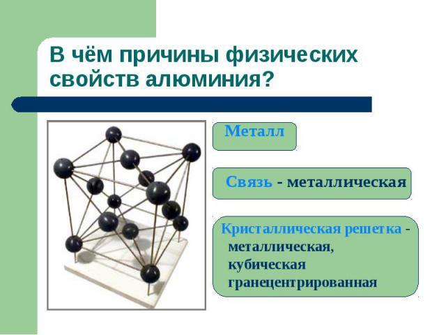 В чём причины физических свойств алюминия? Металл Связь - металлическая Кристаллическая решетка - металлическая, кубическая гранецентрированная