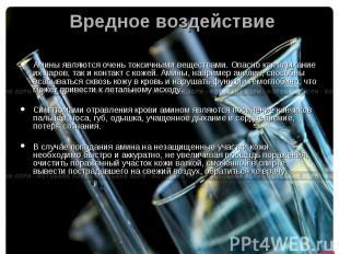 Вредное воздействие Амины являются очень токсичными веществами. Опасно как вдыха