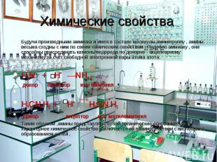 Химические свойства Будучи производными аммиака и имея в составе молекулы аминог