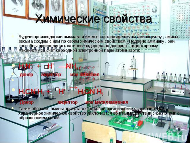 Химические свойства Будучи производными аммиака и имея в составе молекулы аминогруппу , амины весьма сходны с ним по своим химическим свойствам . Подобно аммиаку , они способны присоединять катионы водорода по донорно - акцепторному механизму за сче…