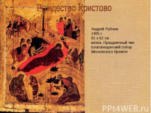 Рождество Христово Андрей Рублев1405 г.81 x 62 смикона. Праздничный чинБлаговеще