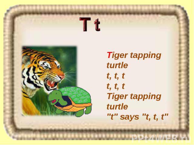 Tiger tapping turtle t, t, t t, t, t Tiger tapping turtle